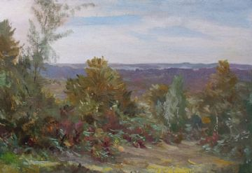 Frank Brooks Original Oil Painting Heathland Rural Landscape